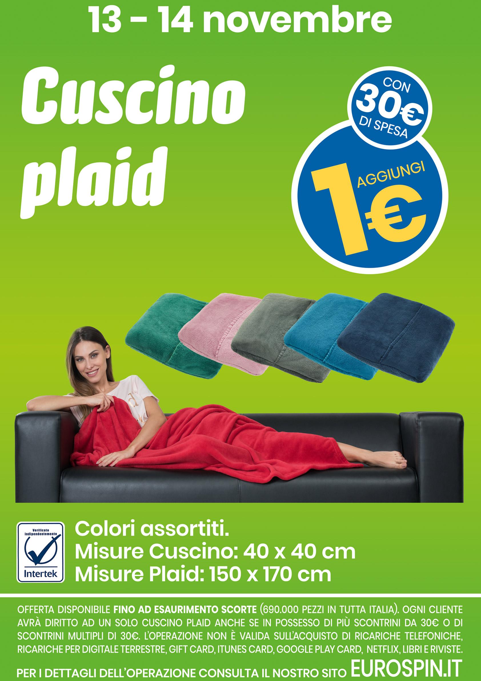 ogni 30€ di spesa aggiungi 1€ per aver il cuscino plaid di eurospin