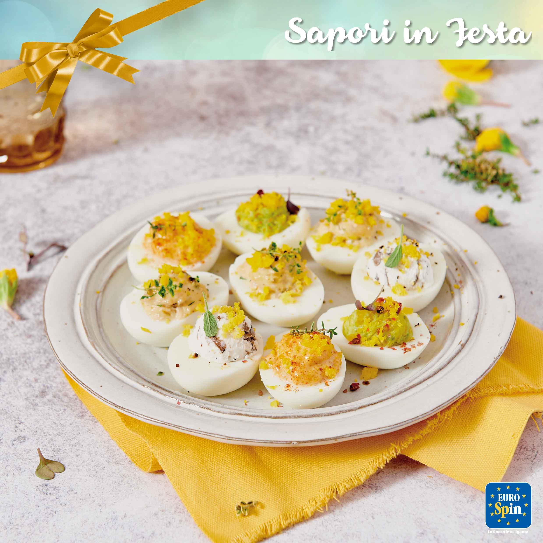 Uova mimosa con robiola, tonno, avocado e maionese