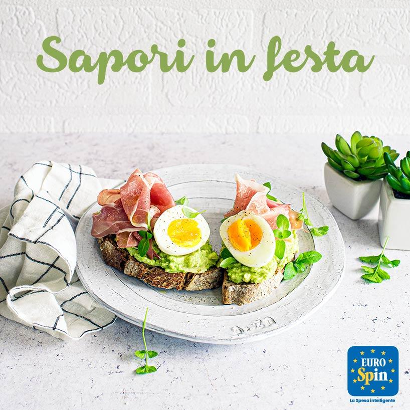 Bruschetta con avocado, prosciutto di Norcia IGP e uova alla goccia