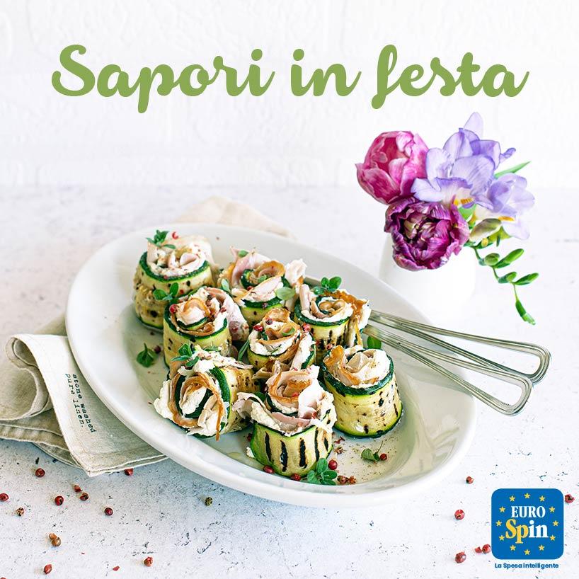Rotolini di zucchine con crema di Parmigiano e porchetta toscana