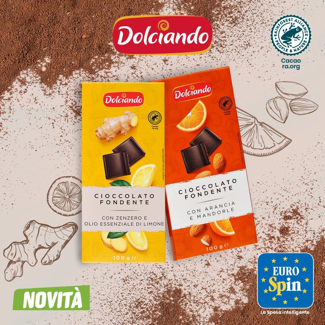 Cioccolato fondente con zenzero e limone/arancia e mandorle
