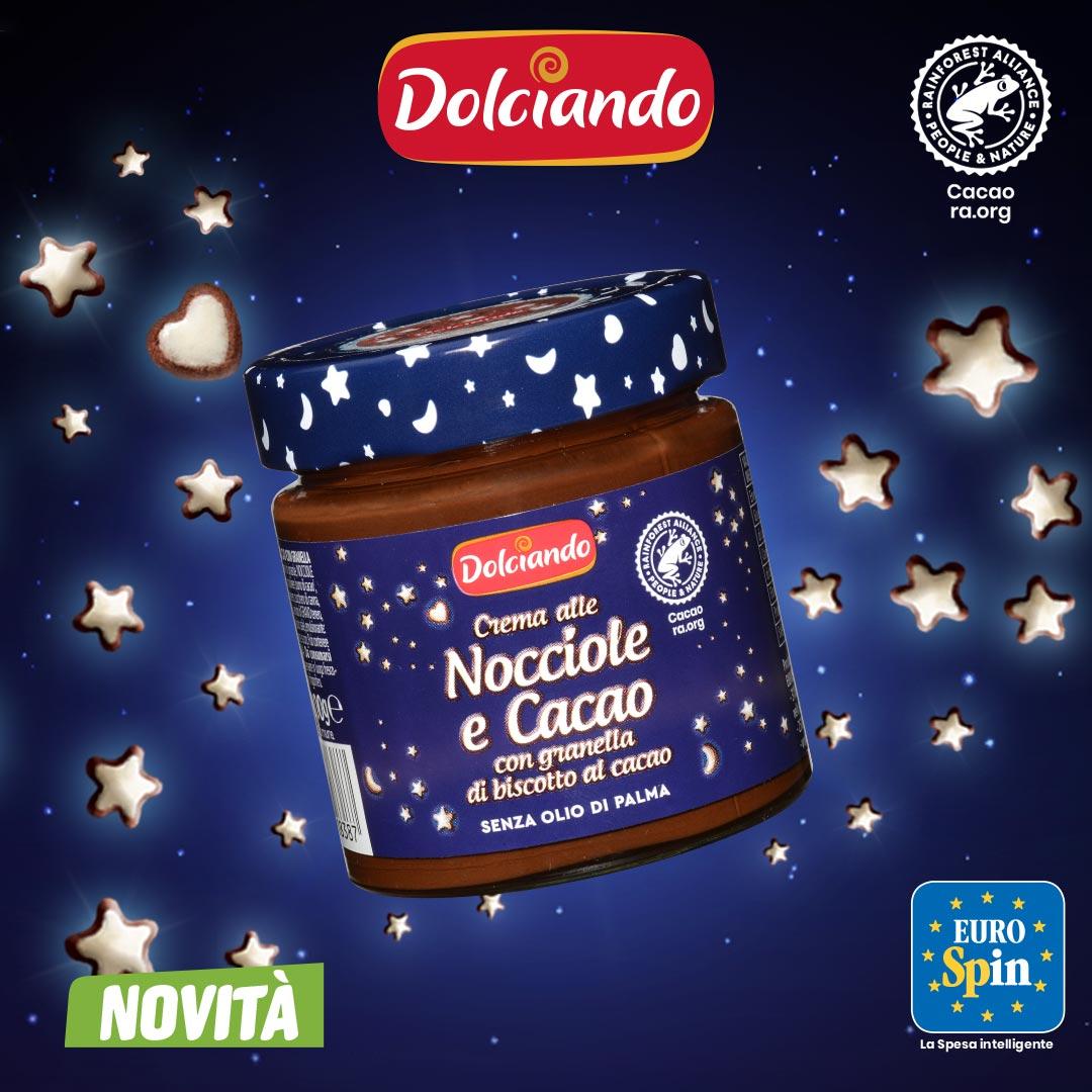Crema alle Nocciole e Cacao con granella di biscotto al cacao