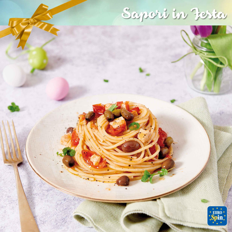 Spaghetti di Gragnano con pesce spada e olive taggiasche